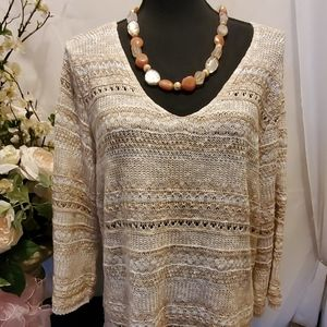 Dressbarn Plus Size Cream and Tan Sweater